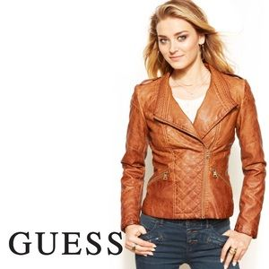 GUESS Quilted Faux Leather Moto Jacket